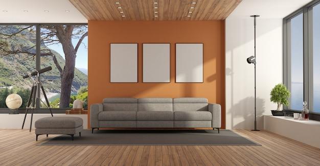 Sala de estar com janela grande e sofá cinza contra parede laranja - renderização em 3d