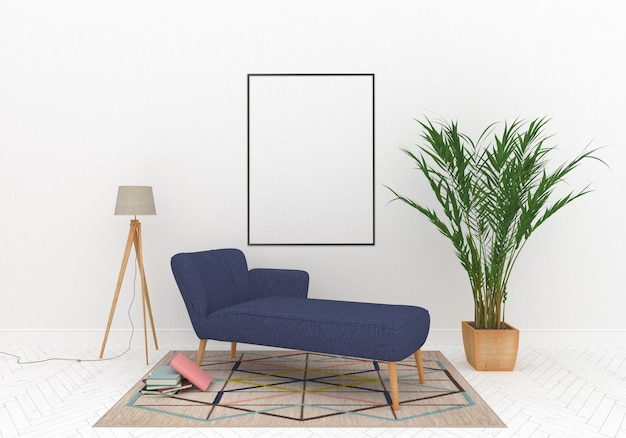 Sala de estar com maquete quadro vertical