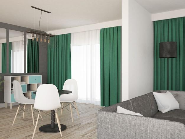 Sala de estar com mesa e sofá