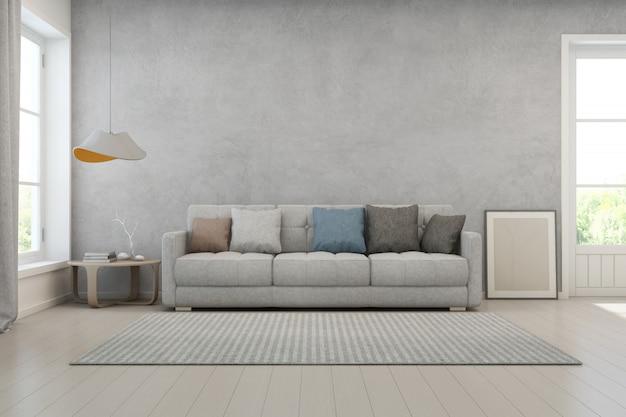 Sala de estar com muro de concreto em casa moderna.