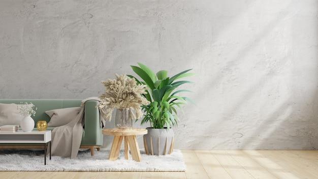 Sala de estar com parede de concreto, sofá e decoração. renderização 3d