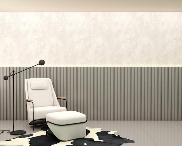 Sala de estar com parede de ripas de cimento queimado, poltrona branca, tapete de couro, abajur e piso