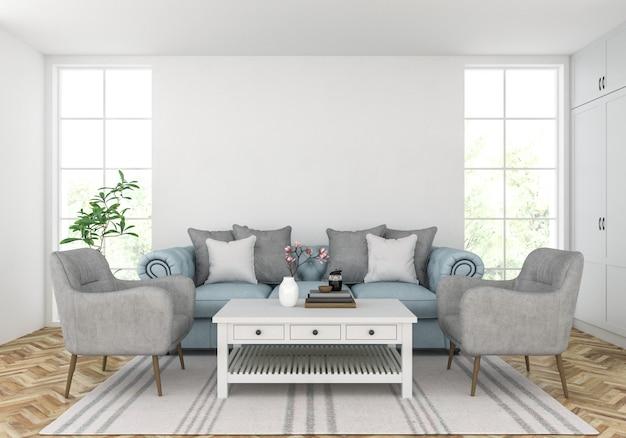 Sala de estar com parede em branco, exibição de obras de arte