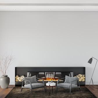 Sala de estar com poltrona cinza e lareira