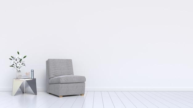 Sala de estar com poltrona cinza e planta no fundo da parede branca, renderização em 3d