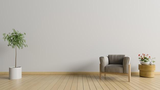Sala de estar com poltrona e árvore no fundo da parede branca, renderização em 3d