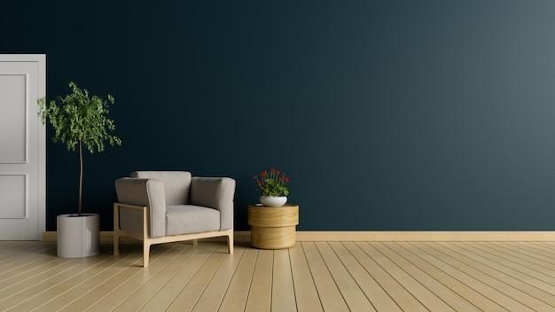 Sala de estar com poltrona e árvore no fundo da parede escura, renderização em 3d