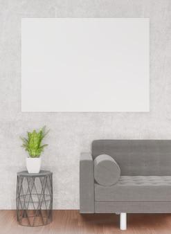 Sala de estar com sofá, árvore, muro de concreto, renderização 3d, moldura branca para