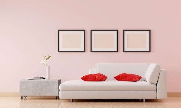 Sala de estar com sofá branco e móveis e grupo de moldura na sala rosa.