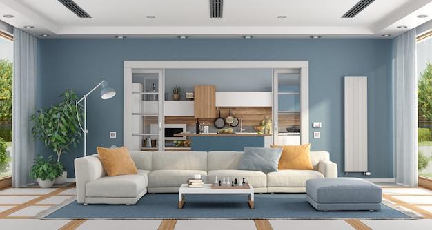 Sala de estar com sofá e cozinha moderna em fundo
