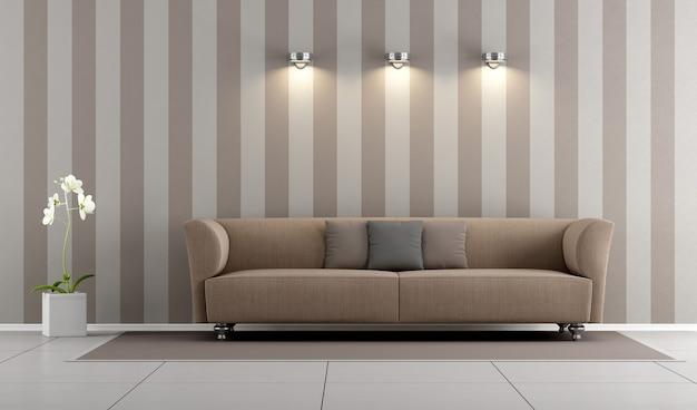 Sala de estar com sofá marrom elegante