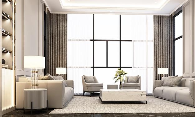 Sala de estar com sofá mesa de café e poltrona no piso de mármore preto e elemento clássico decoração parede e teto renderização em 3d