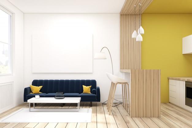 Sala de estar com sofá preto em um estúdio