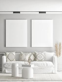 Sala de estar com um pôster vazio na parede ilustração 3d renderização em 3d