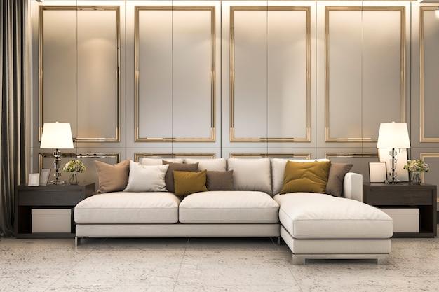 Sala de estar com um sofá grande e decoração dourada