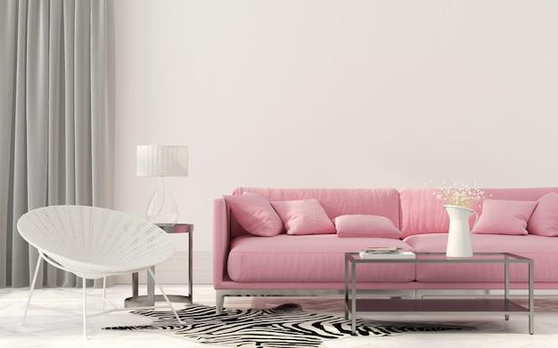 Sala de estar com um sofá rosa