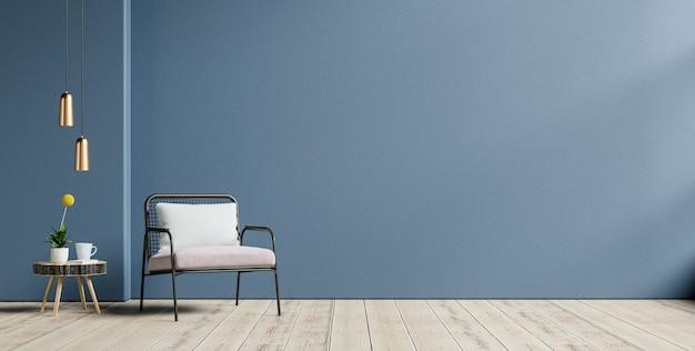 Sala de estar com uma poltrona em um fundo vazio de parede azul escuro, renderização em 3d