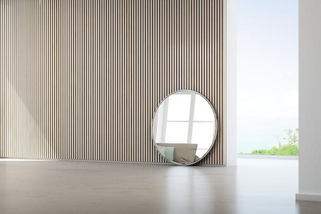 Sala de estar com vista para o mar da casa de praia de verão luxo com janela de vidro e piso de concreto.