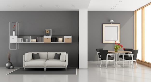 Sala de estar contemporânea com sofá e mesa de jantar com cadeira