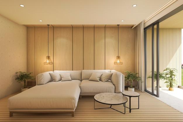 Sala de estar contemporânea de renderização 3d com sofá perto de terraço