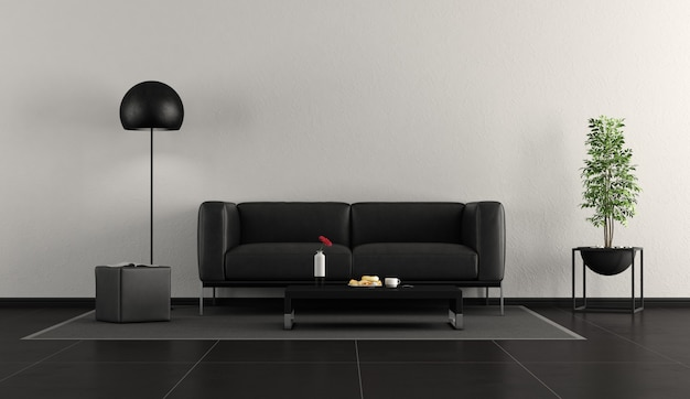 Sala de estar contemporânea preta