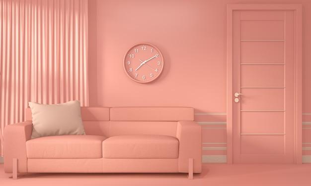 Sala de estar coral inetrior com sofá e decoração cor viva estilo coral