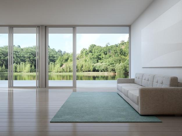 Sala de estar da casa de luxo com vista para o lago em design moderno.