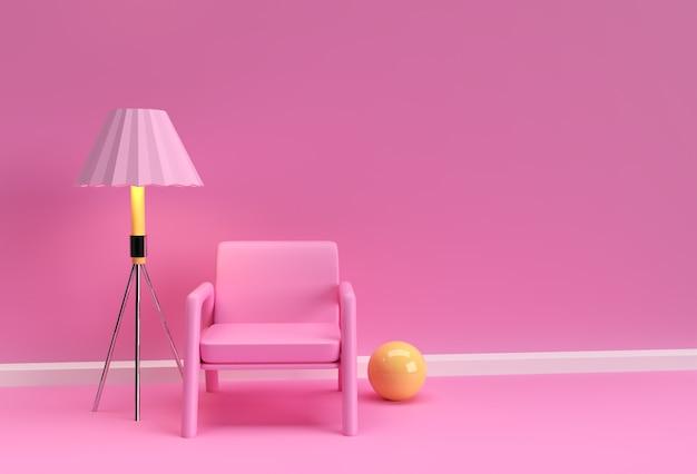 Sala de estar de apartamento moderno, lounge de hotel, área de espera de escritório interior minimalista maquete realista 3d design.