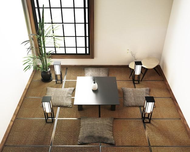 Sala de estar de design de interiores com mesa, piso de tatame. renderização em 3d