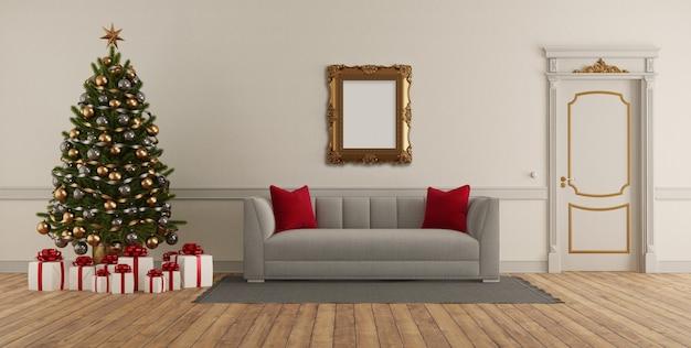 Sala de estar de estilo clássico com árvore de natal, sofá elegante e porta fechada - renderização em 3d