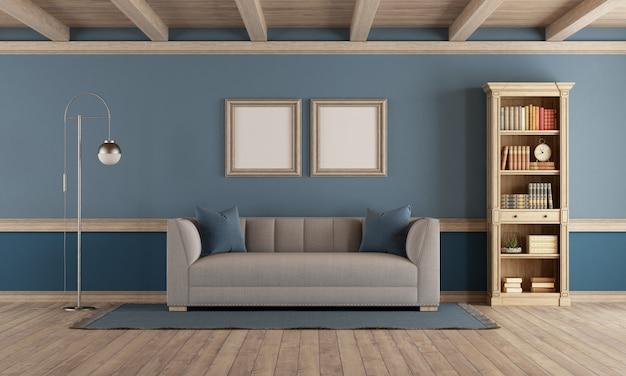 Sala de estar de estilo clássico com móveis retrô e parede azul - renderização em 3d