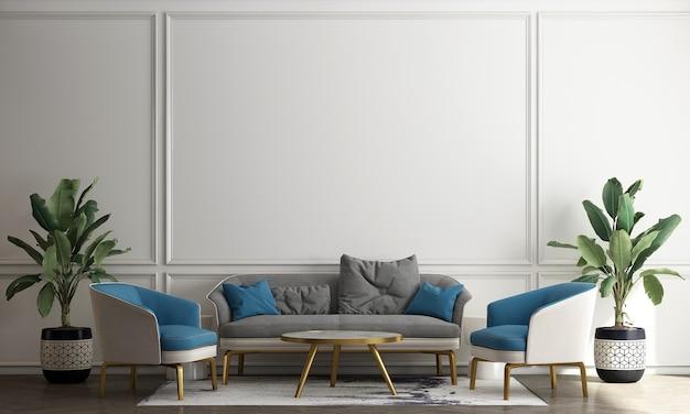 Sala de estar de estilo escandinavo com sofá e mesa de chá. design minimalista da sala de estar e fundo de parede branco vazio, ilustração 3d