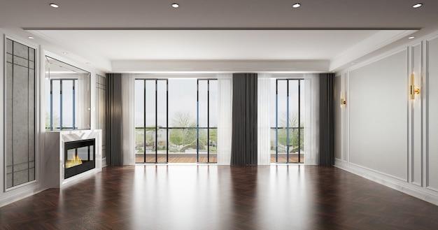 Sala de estar de estilo luxuoso moderno com sofá e mesa de chá. design minimalista da sala de estar e fundo de parede branco vazio