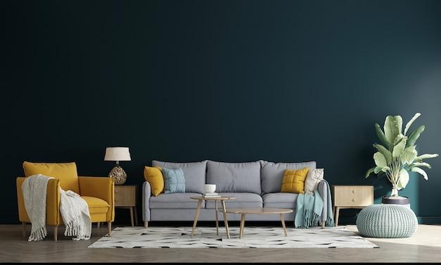 Sala de estar de estilo minimalista com sofá e mesa de chá. design minimalista da sala de estar e fundo de parede branco vazio, ilustração 3d