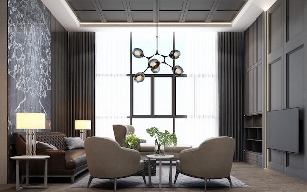 Sala de estar de estilo moderno de luxo com decoração em madeira e mármore em tom cinza, renderização em 3d