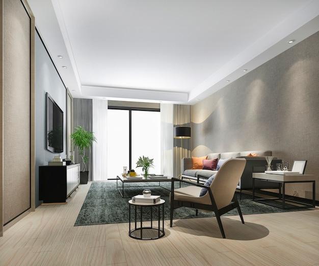 Sala de estar de luxo de renderização 3d com telha de mármore e armário