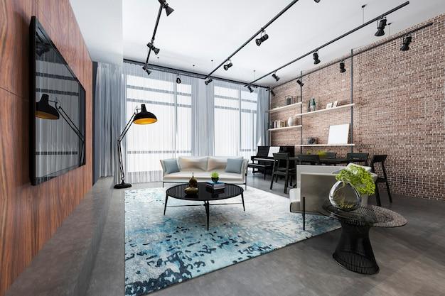 Sala de estar de luxo loft renderização 3d com prateleira e piano e decoração de tijolos