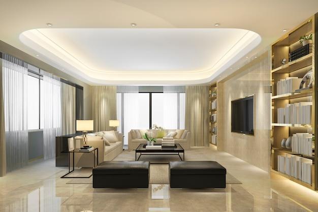Sala de estar de luxo loft renderização 3d com pufe e estante