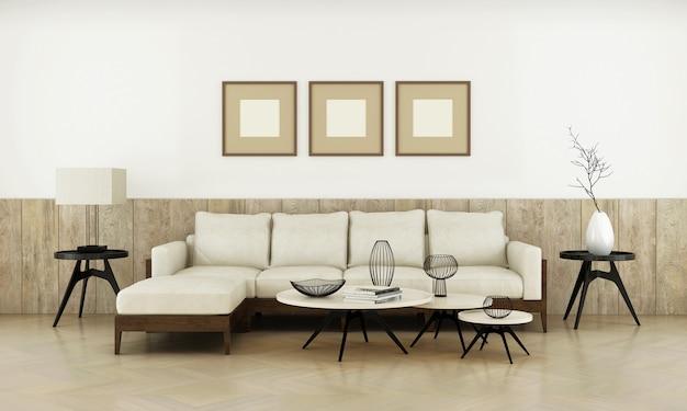 Sala de estar de luxo moderna realista com moldura