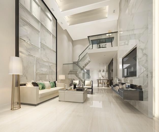 Sala de estar de madeira branca e cozinha perto do quarto no andar de cima