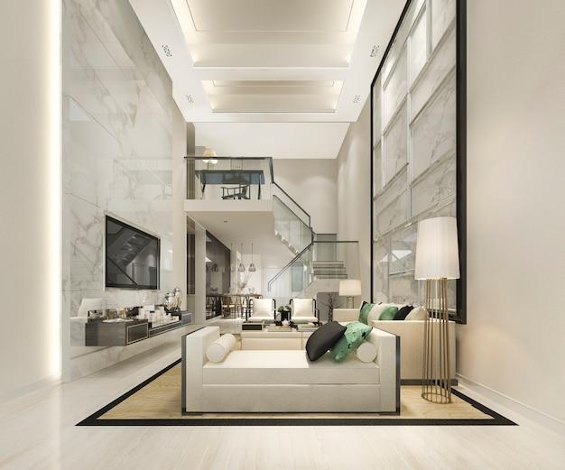 Sala de estar de madeira branca e cozinha perto do quarto no andar superior