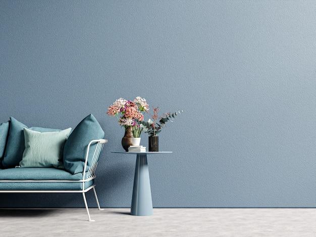 Sala de estar de madeira moderna e elegante com sofá na parede vazia de azul escuro, renderização em 3d