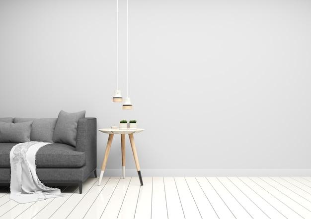 Sala de estar de parede cinza e sofá cinza