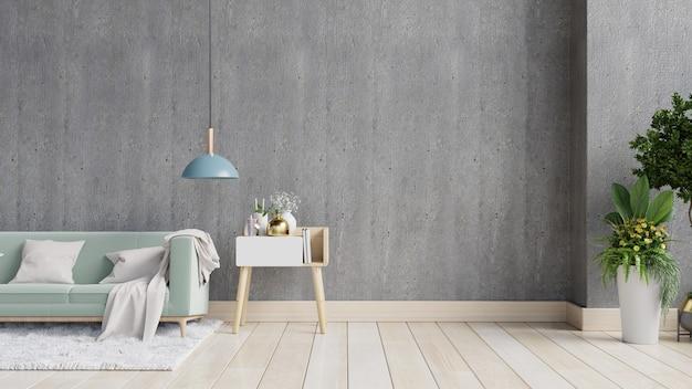 Sala de estar de parede de concreto com sofá e decoração, renderização em 3d