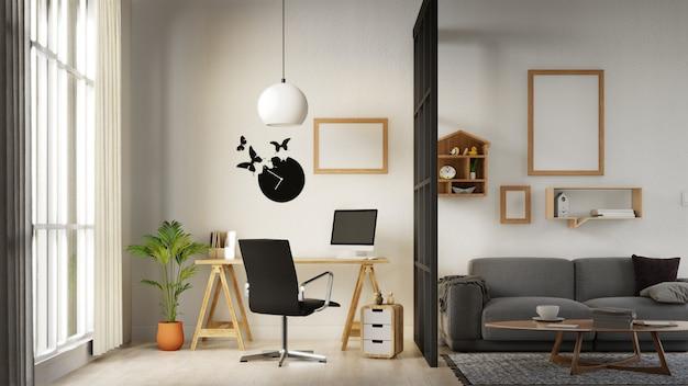 Sala de estar de pôster interior com sofá branco colorido