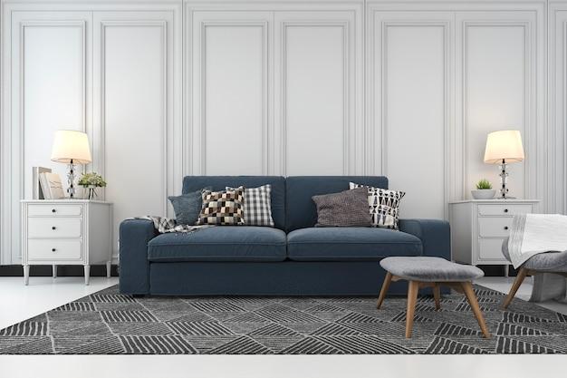 Sala de estar de renderização 3d com sofá