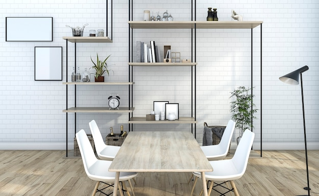 Sala de estar de tijolo branco de renderização 3d com decoração de prateleira