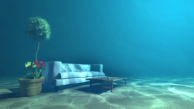 Sala de estar debaixo d'água para relaxamento