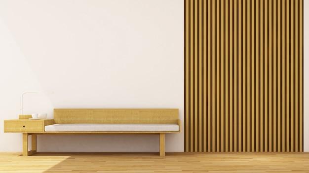 Sala de estar decoração de madeira - renderização em 3d