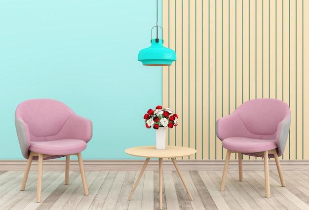 Sala de estar e cadeira rosa interior design ilustração 3d, quarto dos namorados
